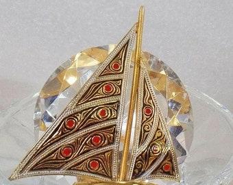 SUPER SALE Vintage Damascene Sailboat Ship Brooch. Spain Damascene Sailing Boat Pin.  Spanish Damascene.