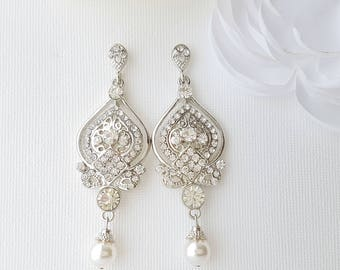 Bridal Earrings, Chandelier Earrings, Pearl Drop Wedding Earrings, Pearl Rhinestone Earrings, Vintage Style, Bridal Jewelry, Grace