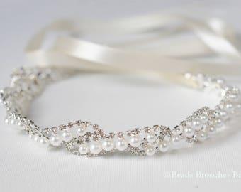 Pearl Bridal Headpiece in Silver, Rhinestone Pearl Wedding Headpiece, Twisted Rose Shaped Elegant Bridal Hair Accessory, Wedding Halo