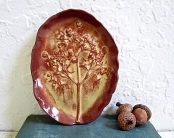 Bijou en céramique arbre de vie porte-savon plat, poterie en grès, avec jardin fleurs poterie fait à la main