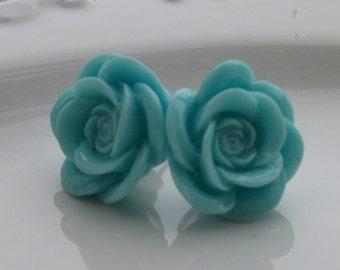 Large Mint Rose Earrings