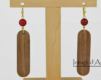 Handcrafted walnut earrings, gold plated with coral beads