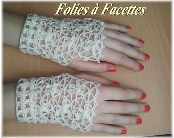 Ivory cotton crochet flowers lace fingerless gloves