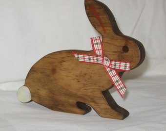 """Handcrafted Wooden Bunny Cutout Lying Down - 6 3/4"""" Wide by 5 1/2"""" High - Stained with Minwax Special Walnut"""