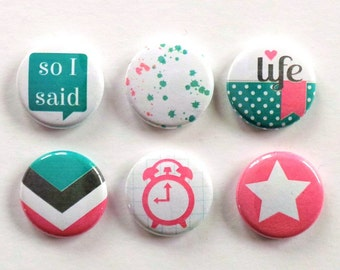 So I Said Everyday Flair Buttons, Pink Scrapbooking Flair Badges, Girly Flair, Everyday Life Flair, Pocket Scrapbooking, Cardmaking