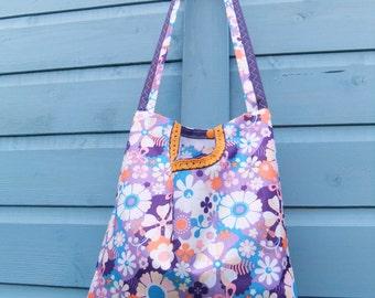 Vintage Floral - Orange and Purple - 2 in 1 peg bag / Clothespin bag - Original Beaky design