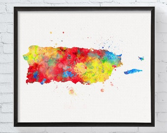 Puerto Rico Art, Puerto Rico Poster, Puerto Rico Map, Puerto Rico Wall Art, Watercolor Map, Travel Map, Map Poster, Dorm Decor,  Art, Framed