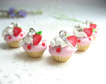 Mini Strawberry Cupcake Stitch markers - Set of 5 - polymer clay knit knitting charms, stitch markers, cupcake charms, miniature food charms