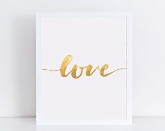 "Gold ""Love"" Typography 8x10 Art Print, Modern Minimalist Wall Decor"