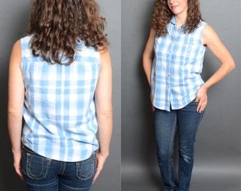 80's Denim Plaid Tank Top 1980's Collared Sleeveless Shirt Vintage Women's  Hipster Fashion Medium Large Blouse.