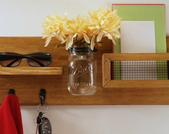 Entryway Mail Organizer-Shelf-Key-Coat Rack-Mason Jar Vase- Honey Oak Finish