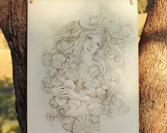 ORIGINAL Fantasy Drawing Water Nymph Mermaid Lotus Fae Ophelia Pencil Drawing Hand Drawn Ginger Kelly Fairy Tale Illustration