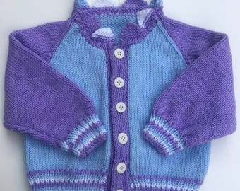 Vintage Hand Knit Toddler Wool Cardigan Sweater 2T