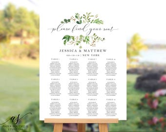 Greenery Wedding Seating Chart Template Find your seat sign Seating Chart Poster Greenery Seating Chart Seating Plan Editable Template #S32