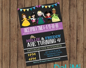 Princess and Pirate Invitation - Joint Birthday Invitation - Unisex Invitation - Twins Party Invitation - Printable Invitation!