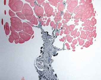 "PINK Cherry Blossom - The Original ""Marbled Graphics""TM by Robert Wu, Original Marbling Art, Marbled Paper"