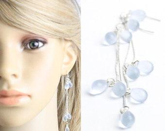 aquamarine earrings light blue jewelry 925 silver hook gift wife birthday sky blue elegant jewelry delicate earrings cobalt blue long w134