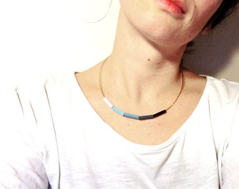 Minimal wood Necklace. Blue ombre chocker. Minimal wood chocker. Unique gift for bridal shower. Anniversary gift. In The Moonlight