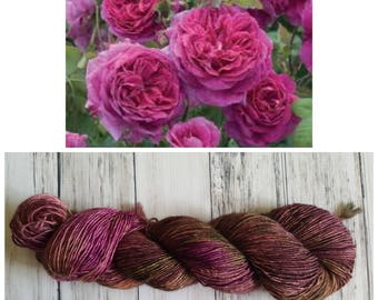 Hand Dyed Yarn, Muscovite, Single Ply Merino and Stellina, Sparkle, Perfect for Shawls and Lightweight Accessories - Vintage Seawall Rose