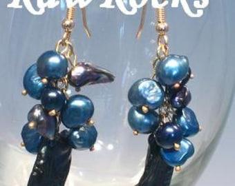 Blue Freshwater Pearl and Biwa Stick Pearl 9ct gold earrings jewellery from RawRocks