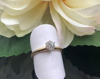 Victorian Engagement, Old Mine Diamond 14K Engagement Ring, Old Mine Engagement, Vintage Engagement, Antique Solitaire Ring, .63 Carat