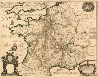 Map of France in 1632 by Sanson; Antique Map Custom Printed to Order