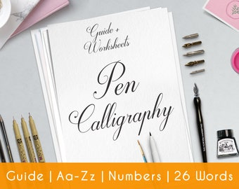Calligraphy Worksheet | Practice Sheets | Guide | Beginner | PRINTABLE | Learn Calligraphy | Brush Lettering | Hand Lettering workbook | P2
