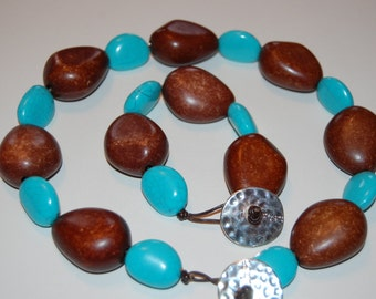 Brown and Blue necklace and bracelet