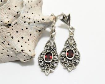 Elegant Marcasite and Garnet Semi-Precious Dangle Drop Post/Stud Earrings January Birthstone  #568