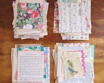 SALE 50 Piece Mixed Lot of 50 Paper Pieces Vintage Paper Scrapbook Paper Vintage Paper Scraps Scrapbook Paper Scraps Paper Pack