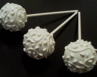 Elegant White Cake Pops - Wedding Favors, Bridal Shower, Formal Event, 1 Dozen
