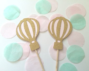 10 Gold Glitter & Pink Hot Air Balloon Cupcake Toppers.  Baby Shower or Birthday Party Decorations. UP, UP and Away