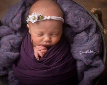 White Lace Bow Headband   White Flower Tieback   Newborn Headbands