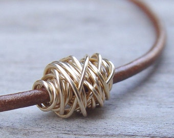 Gold Wire Ball on a Bronze Brown Leather Bracelet, Womens Leather Bracelet, Wire Wrap Bracelet