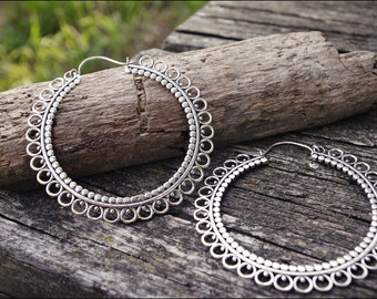 Silver Earrings. Tribal Jewelry. Boho Hoop Earrings. Tribal earrings., boho earrings. Brass earrings. Gypsy Style