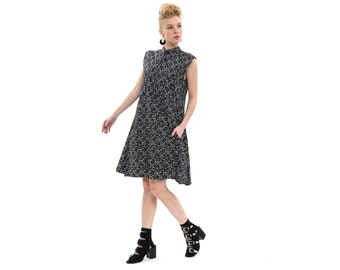 Sleeveless black paisley print dress, Shirt Dress, Oversized Flapper Dress, Cotton, Chic and Stylish Spring Everyday Dress