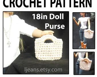 """18 inch Doll Crochet """"Faux"""" Straw Clutch Purse Pattern"""