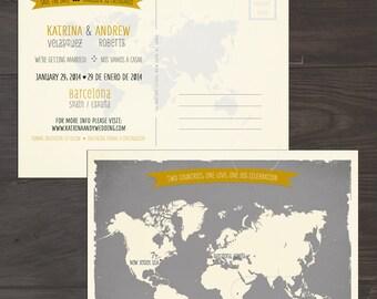 Destination wedding invitation Map Style Bilingual Save the Date Card World map Grey Yellow international couple invitation DEPOSIT PAYMENT