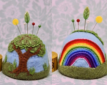 IN STOCK free US ship - Scenic Rainbow and tree landscape Large bottlecap pincushion