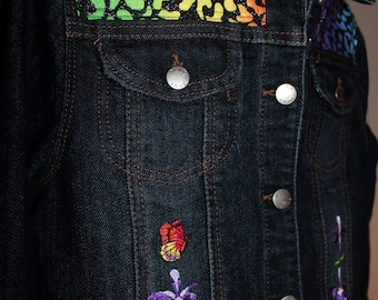Girl's Jean Jacket (Lg),  Butterfly and Flowers - from our CARAUT-ALTERED collection of upcycled denim clothing