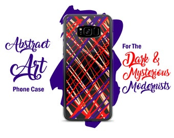 Purple Orange Lines Unique Abstract Art Clear Samsung Case - Samsung Galaxy S8+ / S8 / S7 Edge / S7