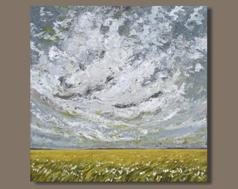 FREE SHIP Abstract Landscape Painting, Prairie Painting, Yellow Field Painting, Clouds, Large Art, Canadian Prairies, Abstract Canvas Art
