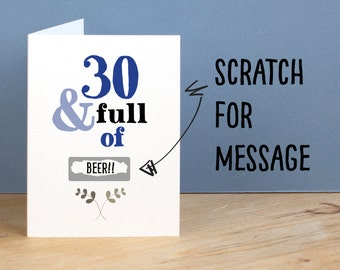 30th Birthday Card, 30 and Full of, Rude, Sarcastic, Humorous, 30th Card, Funny 30th Greetings Card