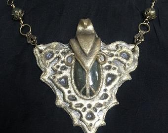 Labradorite Pendant, Elven Pendant, Fantasy Jewelry, Fantasy Necklace, Elven Jewelry, Cosplay Jewelry,