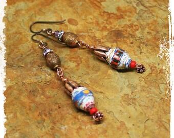 Long Colorful Tribal Earrings for Women, Gypsy Earrings Stacked Beads, Long Copper Dangle earrings, Hippie Earrings,