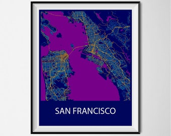 Sydney Map Poster Print - Night
