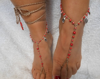 Crochet Barefoot Sandals Beach Wedding  Yoga Shoes Foot Jewelry  Red