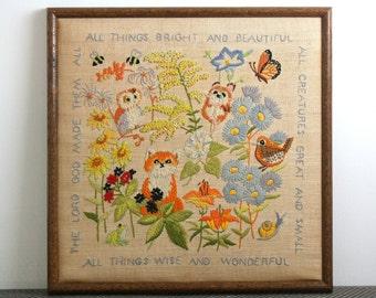 Large Vintage Hand Embroidered Framed Woodland Textile