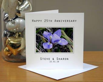 Personalised 25th Wedding Anniversary Flowers Card - Iris Anniversary Card -  Twenty Fifth Anniversary Card - 25th Anniversary Card