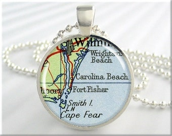 Carolina Beach Map Pendant, Resin Charm, Carolina Beach North Carolina, Map Necklace, Gift Under 20, Picture Jewelry, Round Silver 743RS
